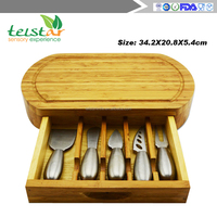 New design bamboo cheese board set professional manufacturer of bamboo&wood items cheese board set cheese knives w/cutting board
