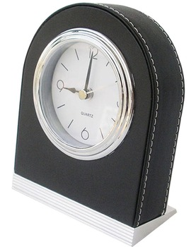 Wholesale PU Leather Home Hotel Desktop Decor Durable Travel Alarm Clock White Dial with Nightlight