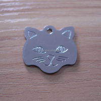 cat head shaped silver plated blank dog pet tag