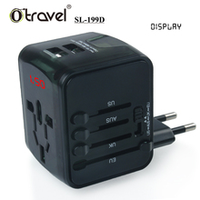 worldwide wall usb charger for mobile phone use usb travel charger with LED display dual usb wall charger model SL-199D
