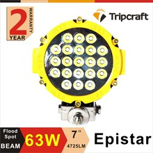 7 inch round led spot light 63w led off road driving lights For 4x4 atv snow plow light