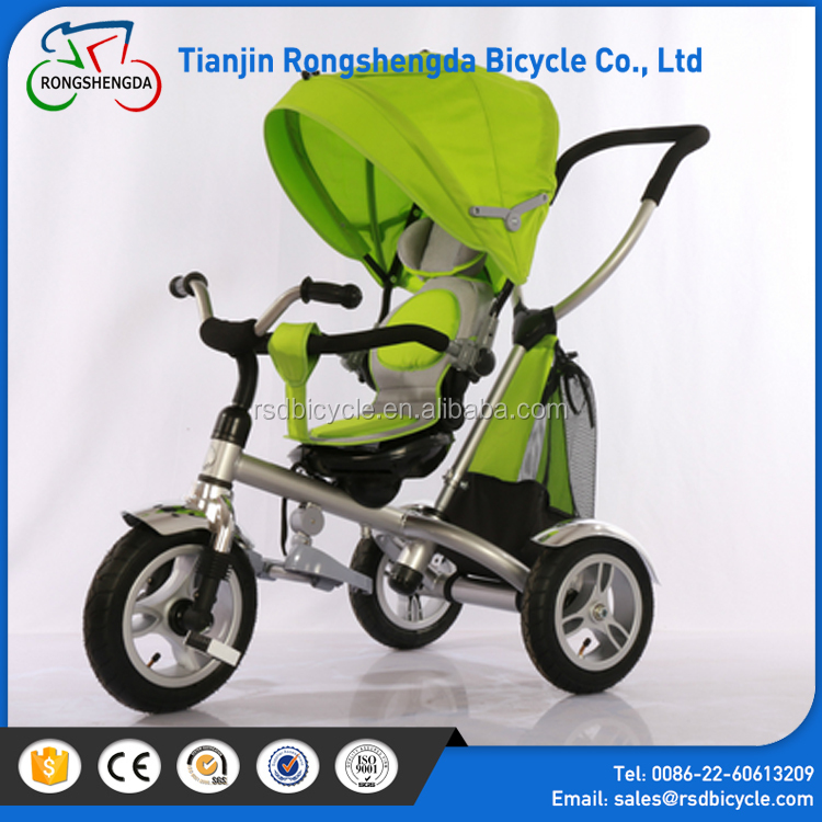Wholesale trike sales air tyre triciclo for kids/CP pushbar baby trikes rear basket/baby tricycle with canopy