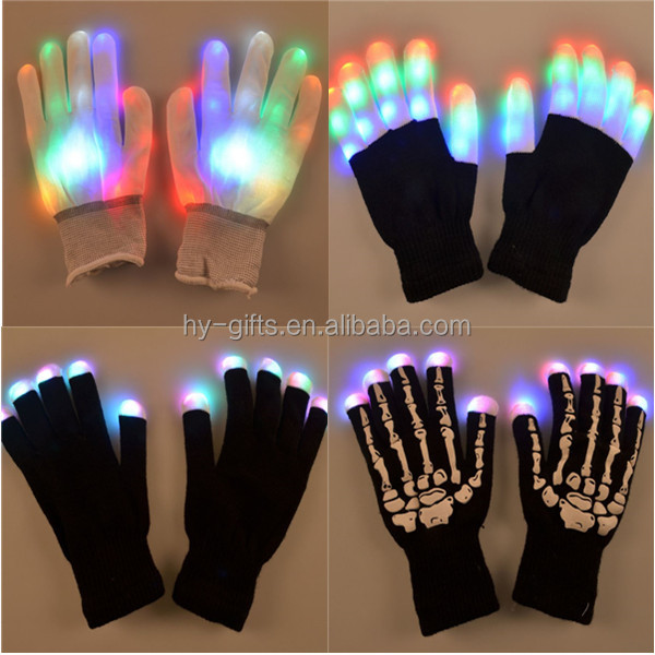 Party Accessory Rave Light Flashing Finger Lighting Glow Mittens Magic Black Luminous Cotton LED Glow Gloves