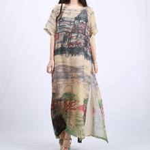 Women Clothing Dress Landscape Printed Summer Short Sleeve Two Piece Dress