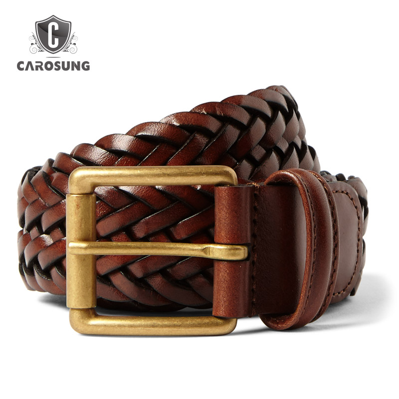 3.5cm Brown Woven Leather Belt with Brass Buckle