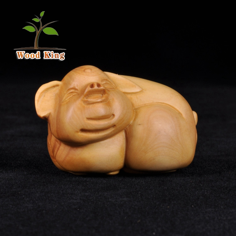 Small Commodities Rosewood Boxwood Pig Woodcarving Animals Hang Art Minds Crafts Car Office Decoration Arts And Craft