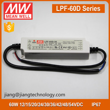 60W LED Dimmable Driver 24V 2.5A Meanwell Driver LPF-60D-24 IP67 PFC Function