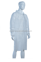 JC1189 Nonwoven Fabrics With Buttons Elastic Wrists Double Collar Disposable PP Lab Coat