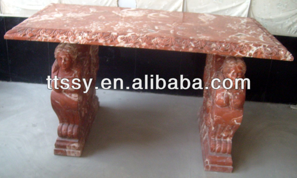 red stone marble table