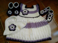 Free shipping 2013 new fashion baby gils beautiful handmade crochet sets knitting flower hat and shoes dresses
