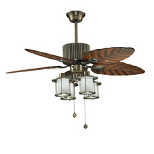hawaii style wood leaf blades decor ceiling fan with light