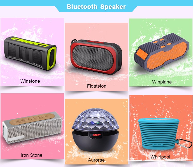 360 Degree Swivel Colorful Waterproof Wireless Bluetooth Speakers with Power Bank
