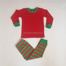 Wholesale 100% cotton red and green stripe christmas pajamas kids boys