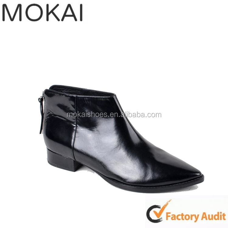 Factory directly price black boots thick heel patent leather leather riding boots