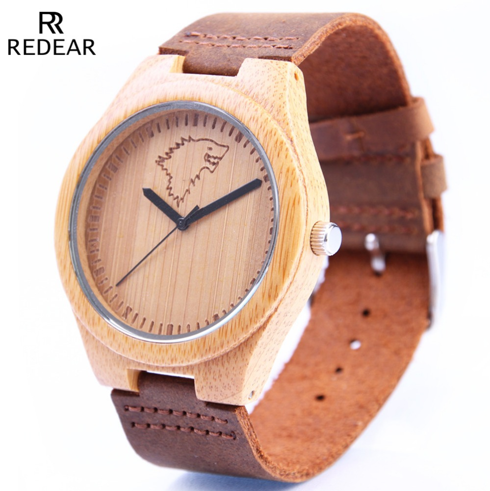SJ1448-3B the fashion leather strap bamboo dial hot sell Japanese movement customs face watch wholesale
