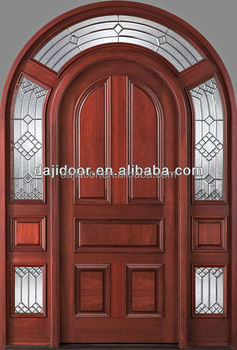 Round Top Glass Wooden French Doors With Side Lite DJ-S6025M