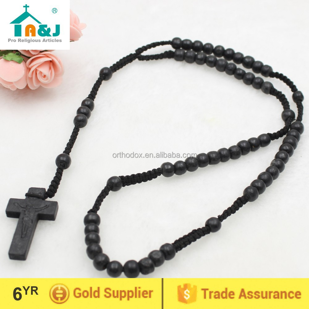 Men's All Black Wood Rosary
