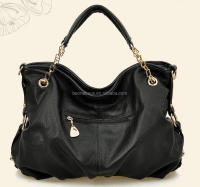 2014 Hot Sale Promotional Portable Classical Black PU Lady Hand Tote Bag