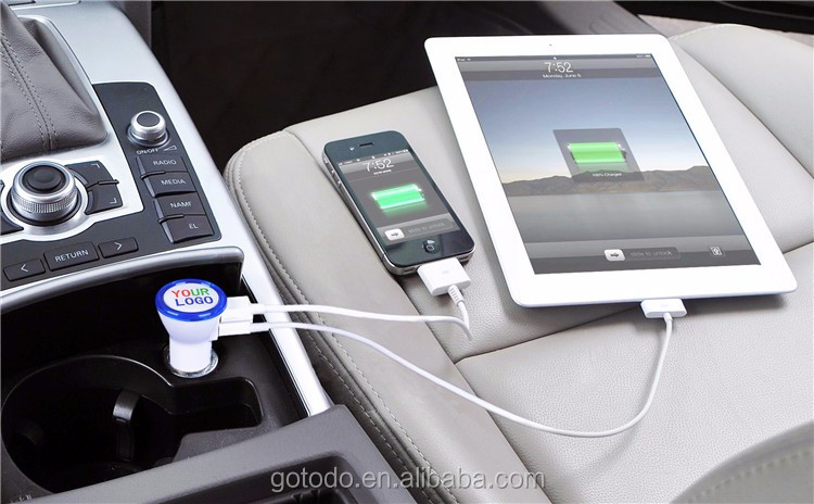 Car usb charger with your LOGO and LED ring, micro univeral dual usb car charger