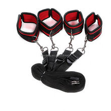 Leather Adult red color Bondage Kit Furry Bed Restraints Hot Sex Game Toys For Couple
