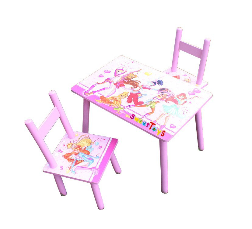 Fashion cartoon children's wooden tables and chairs set
