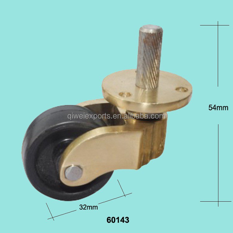 Brass thread screw caster and plate with plastic wheels for furniture