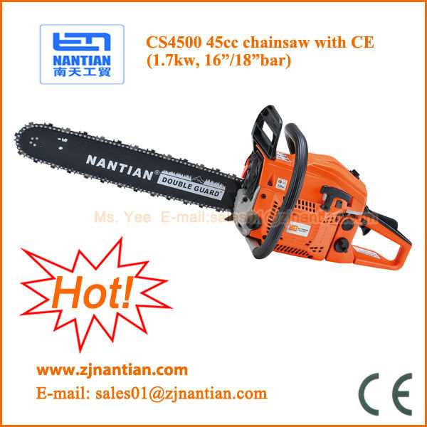 CE certified gasoline petrol chain <strong>saw</strong> CS4500 45cc with 16 18 inch bar