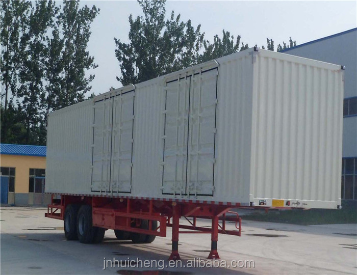 China 3 axles Van truck trailers/high flat bed semi-trailer with side walls/bulk cargo box semi trailer