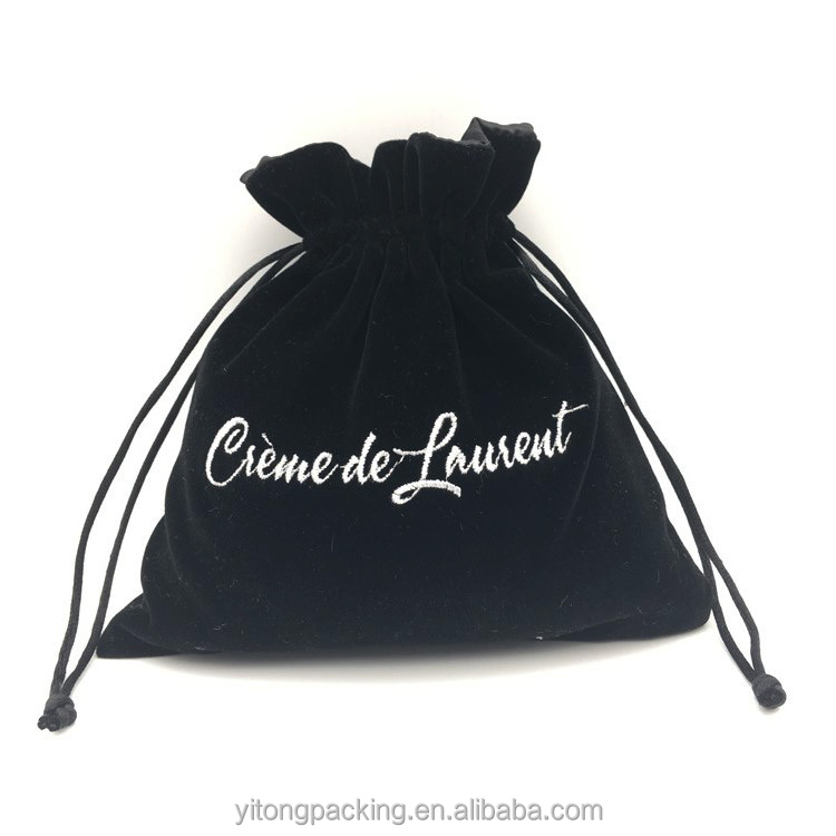 Custom Black Embroidery Jewelry Packaging Pouch Bag With Satin Lining