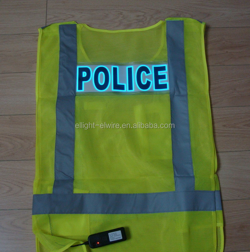 Super luminance Mesh cloth EL Safety Vest/EL safety Clothes /lime EL safety vest