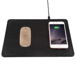M300 Multi-function Leather Mouse Pad Qi Wireless Charger with USB Cable, Support Qi Standard Phones Pad Qi Wireless Charger