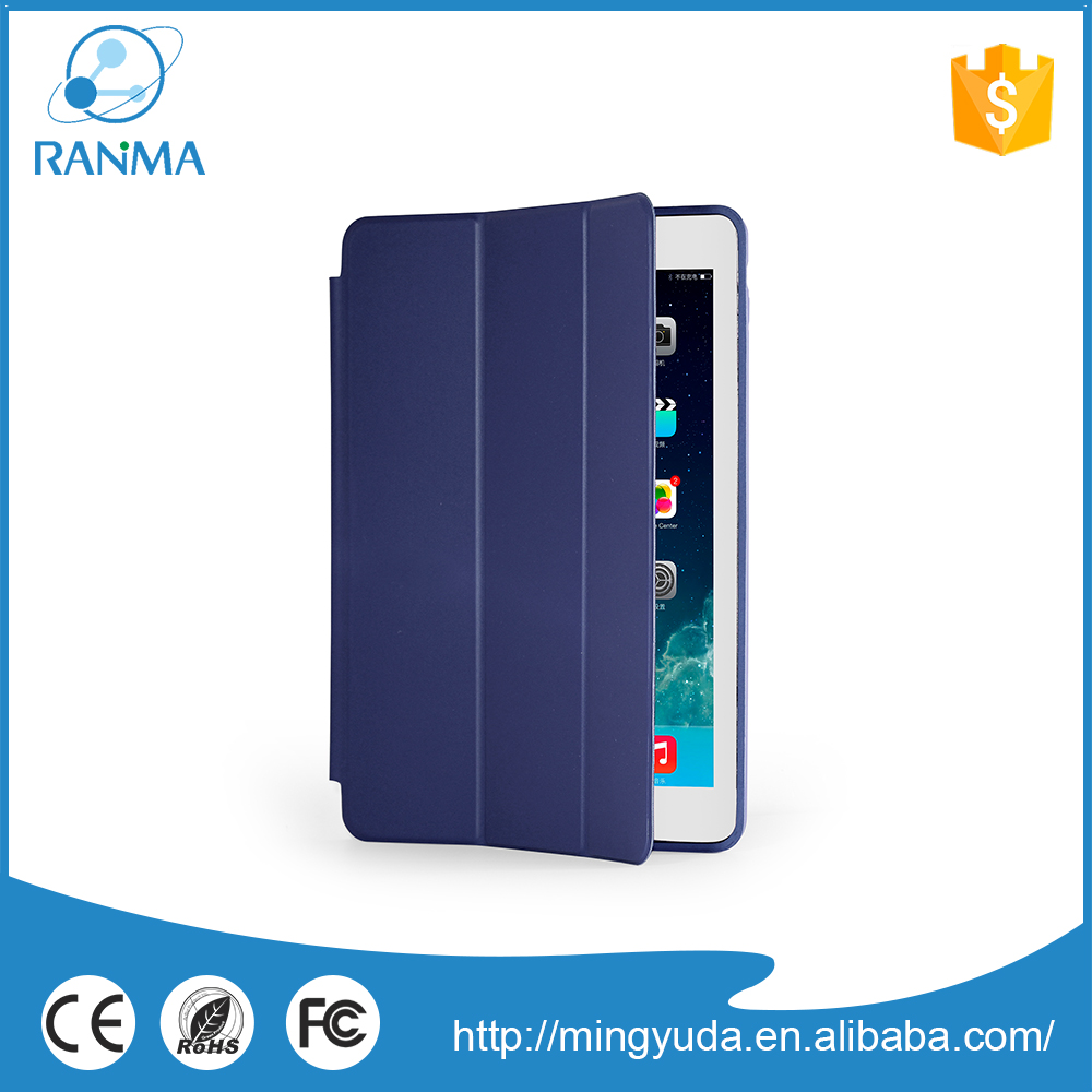 Simple Design ultra thin flip cover pu leather case for ipad air