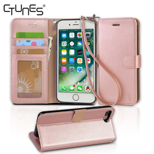 Magnetic Strap Faux Wallet Leather Folio Flip Card Slots Stand Case Cover For Apple iPhone 7 Plus