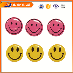 Soft resin dome epoxy logo sticker,QQ smiling face polyurethane sticker wholesale