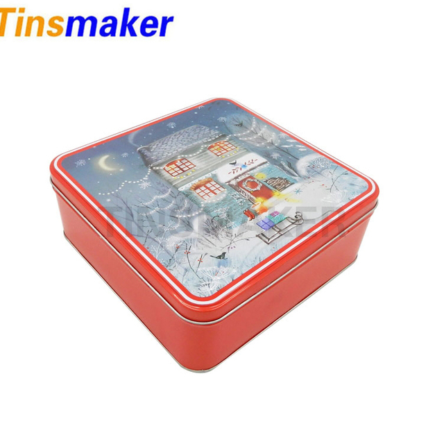 Custom printed Square Embossed Metal Tin Can for gift