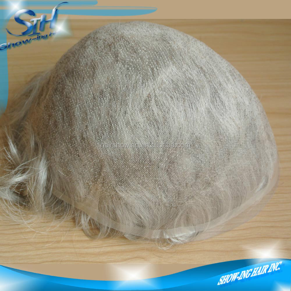 Stock of super fine French lace gray hair toupee for men