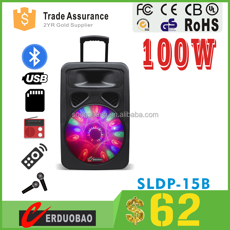 Cheep portable dolphin karaoke micro dj speaker with USB, SD , FM, Wireless Mic , Remote Control , ,Rechargeable battery