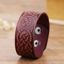 Drop Shipping Genuine Leather Religious Viking Claddagh Bracelet