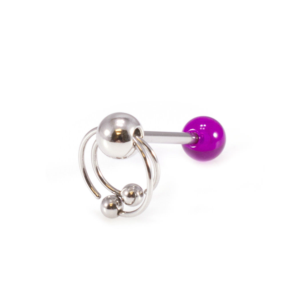 Stainless Steel Double BCR Tongue Ring Piercing With Acrylic Ball