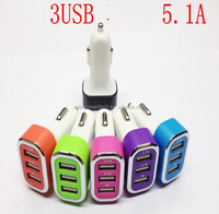 2015 hottest DC5V 5.1A portable 3 usb car charger for both tablet and mobile phones