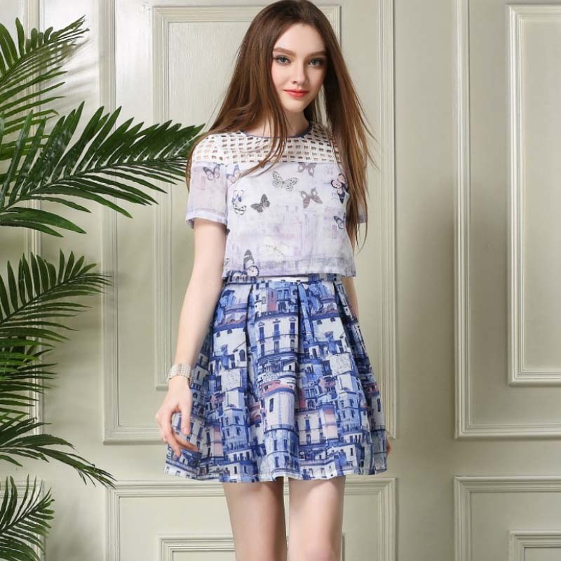WA5090 Organza holiday dress house print skirt hollow out woemn beach outdoor casual suits