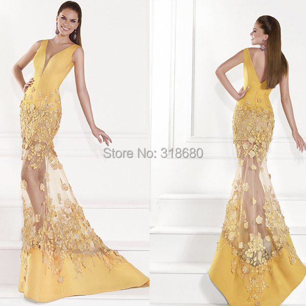 Long Yellow Dresses for Graduation