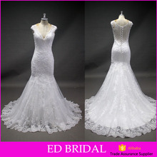 New Collected V Neckline Heavy Beaded Lace Appliqued Mermaid Pattern Wedding Dress Bridal Gown