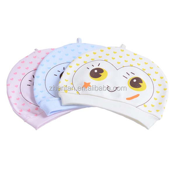 hot selling infant cap cute cartoon design knitted pure cotton baby hat with smiling face