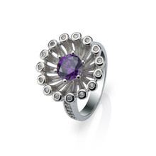 Fashion jewelry 18k Gold Plated Round Cut AAA Purple zircon Firework Finger Ring for Women