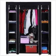 PN FUJIAN factory Black Large Triple Portable Wardrobe Rail Clothes Storage Cupboard Canvas Shoes Bedroom cheap wardrobes