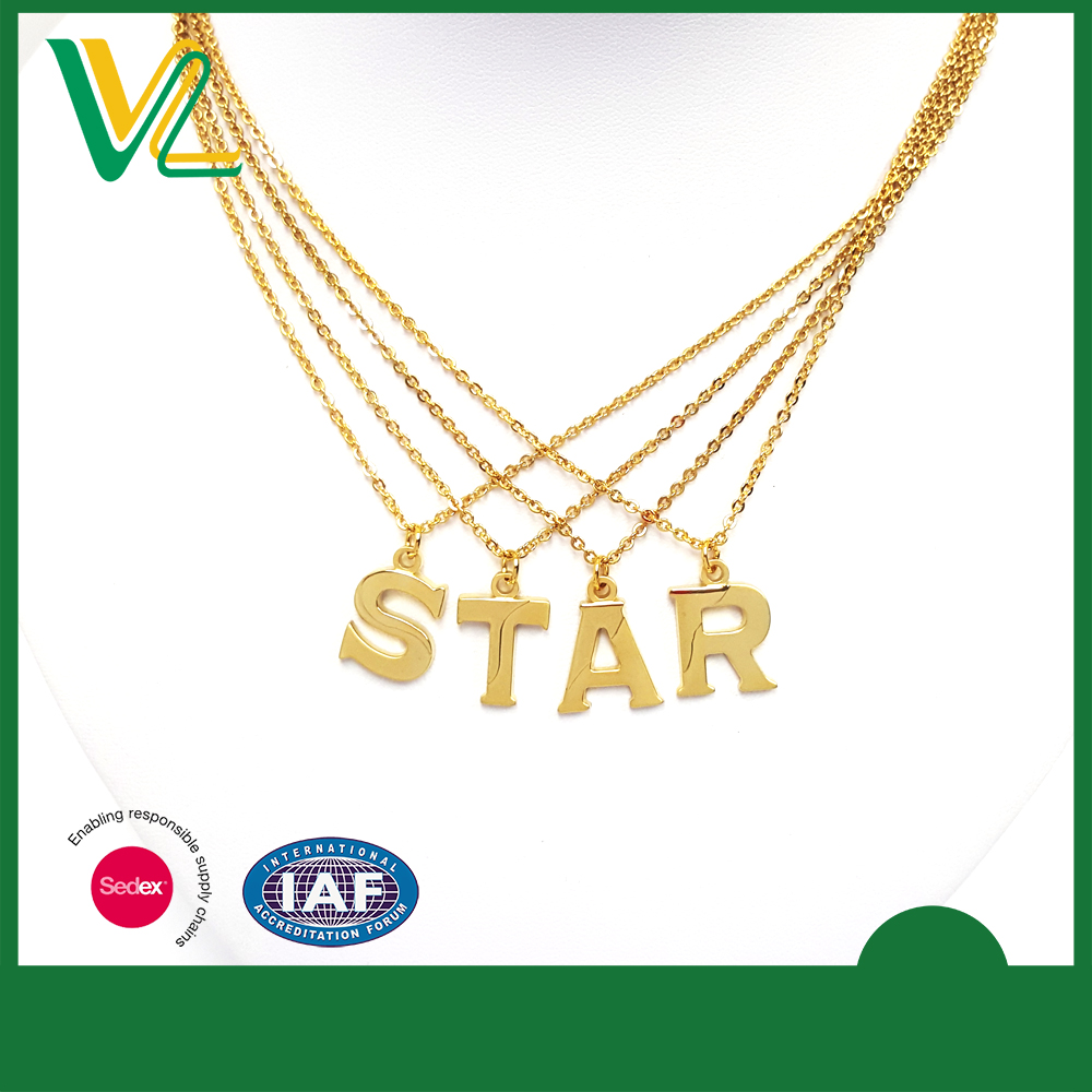 Custom design trendy Die casting Gold plated Star Custom Words Charm Chain Necklaces for man