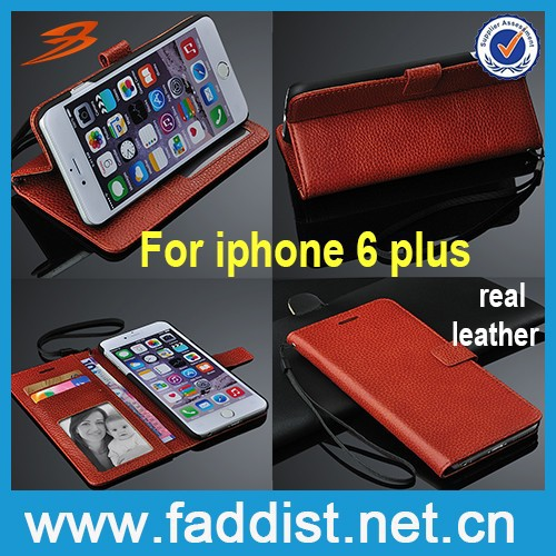 New products wallet genuine leather phone case for iphone 6 plus case