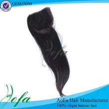 Large Order Free Shipping Natural Color Straight Free Part Lace Closure Brazilian Hair Closure