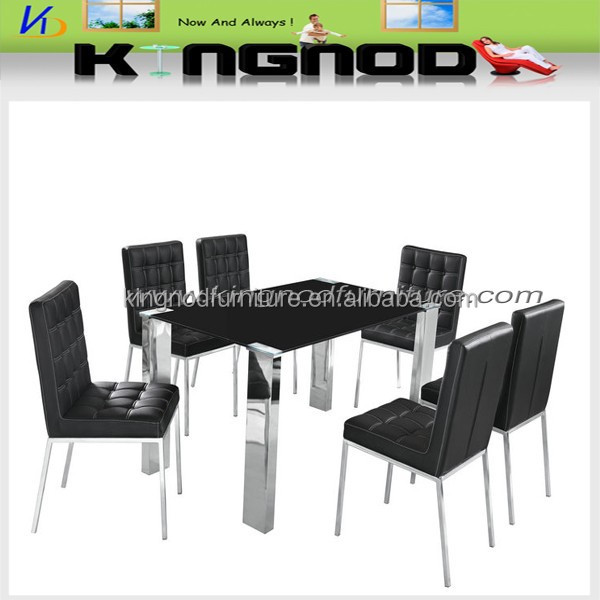2015 hot selling black and white glass walmart dining table chairs